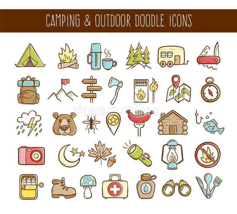 Campeggio ed icone all'aperto di scarabocchio di avventure illustrazione di stock