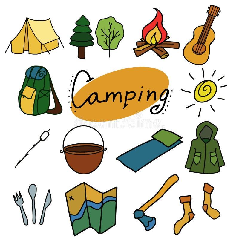 Campeggio ed illustrazione all'aperto di vettore, oggetti isolati illustrazione vettoriale