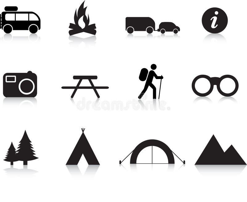 Campeggio ed insieme esterno dell'icona illustrazione di stock