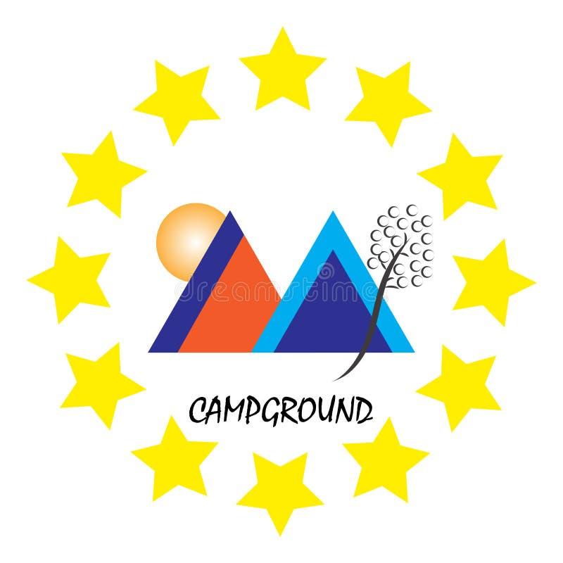 Campeggio estivo di vettore e logo all'aperto di ricreazione illustrazione di stock