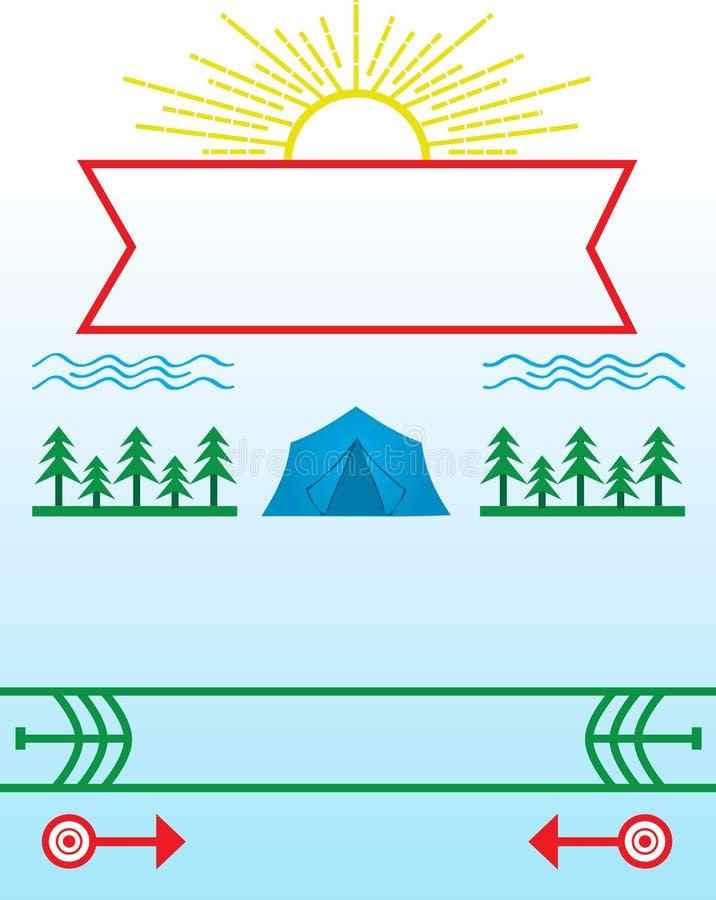Campeggio estivo e manifesto di campeggio royalty illustrazione gratis