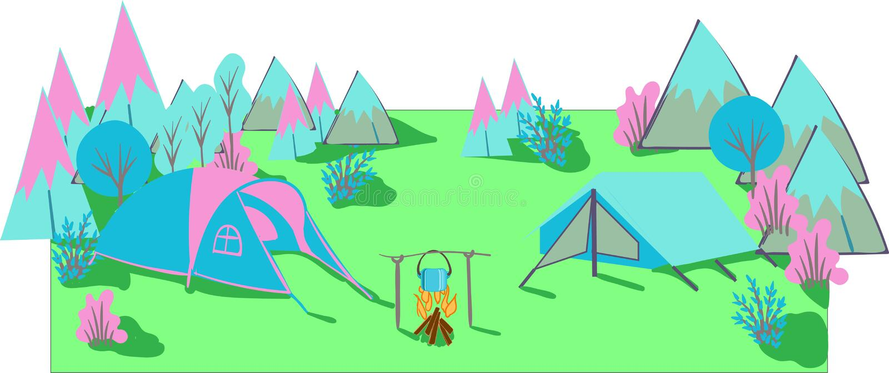 Campeggio estivo Paesaggio della fauna selvatica con le tende Campeggio e turismo Illustrazione di vettore illustrazione vettoriale