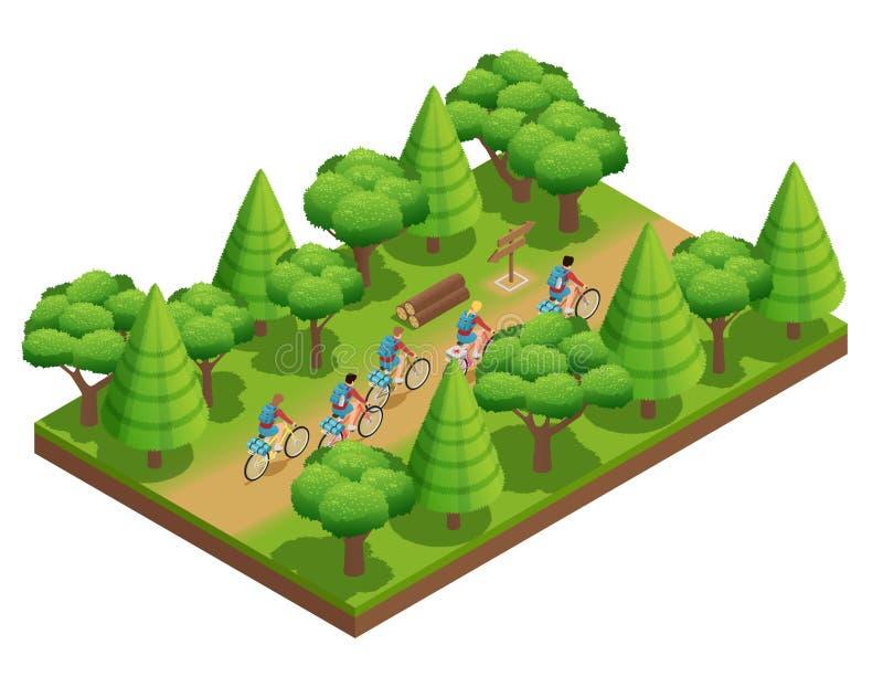 Campeggio facendo un'escursione composizione isometrica illustrazione di stock