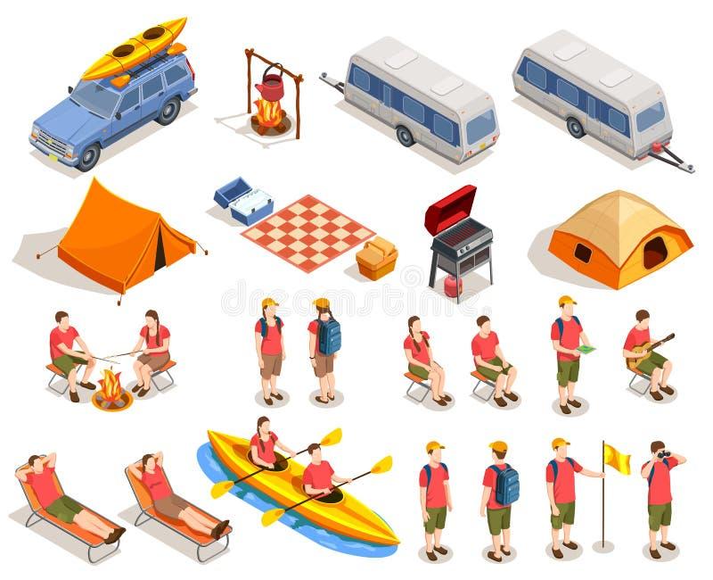 Campeggio facendo un'escursione l'insieme dell'icona illustrazione di stock