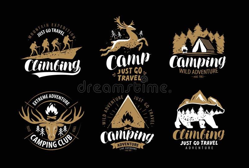 Campeggio, logo di aumento o emblema Escursione del viaggio, insieme di etichetta rampicante Vettore d'annata illustrazione vettoriale