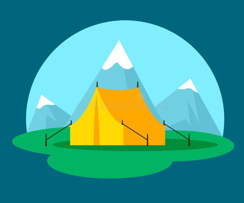 Campeggio piano e concetto all'aperto di ricreazione illustrazione di stock