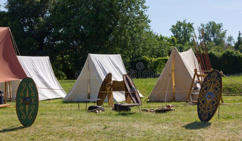 Campement gallique antique à une reconstitution photographie stock