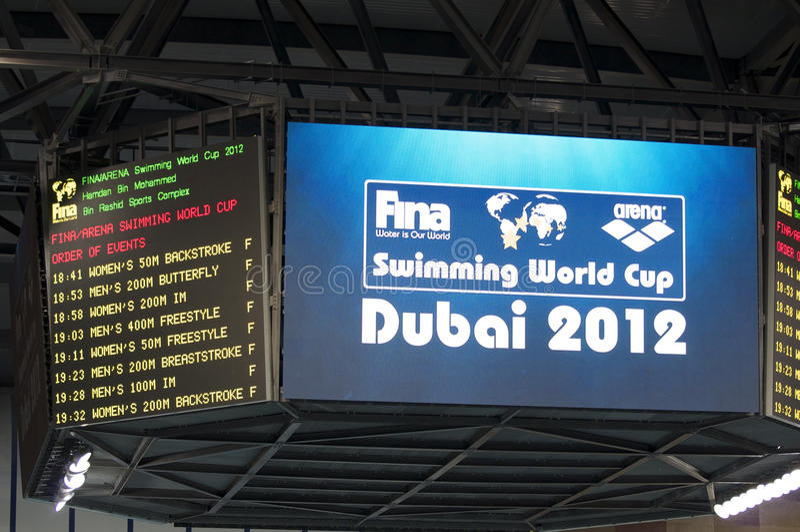 Campeonato 2012 do copo de mundo da natação de Dubai Fina fotografia de stock