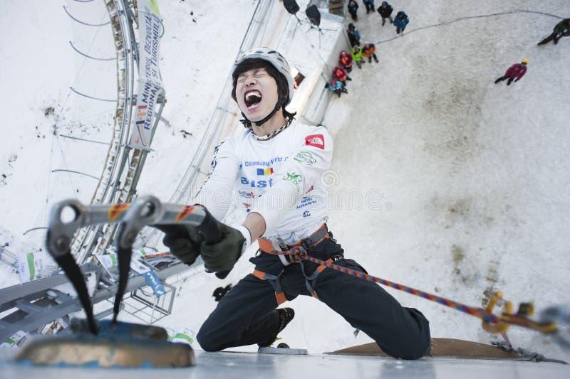Campeonato de escalada 2011 do mundo do gelo fotografia de stock royalty free