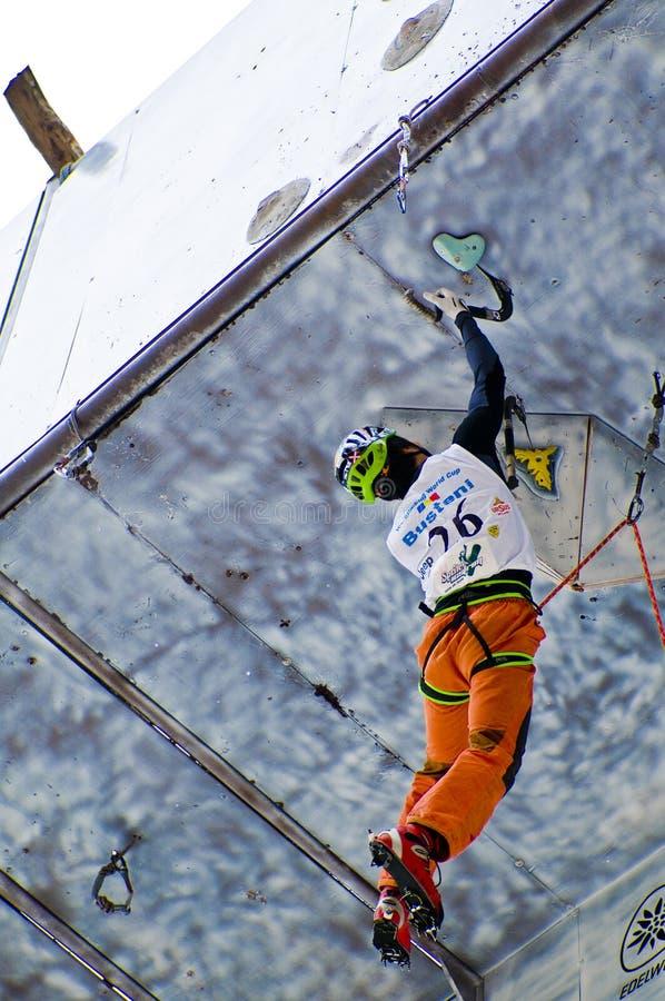 Campeonato de escalada Busteni 2008 do mundo do gelo imagem de stock royalty free