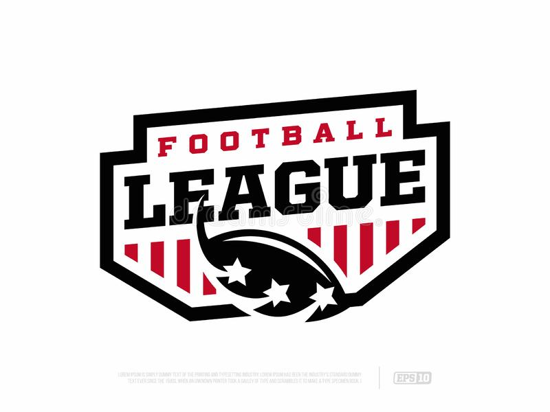 Campeonato de futebol americano do emblema profissional moderno no tema vermelho e branco ilustração royalty free