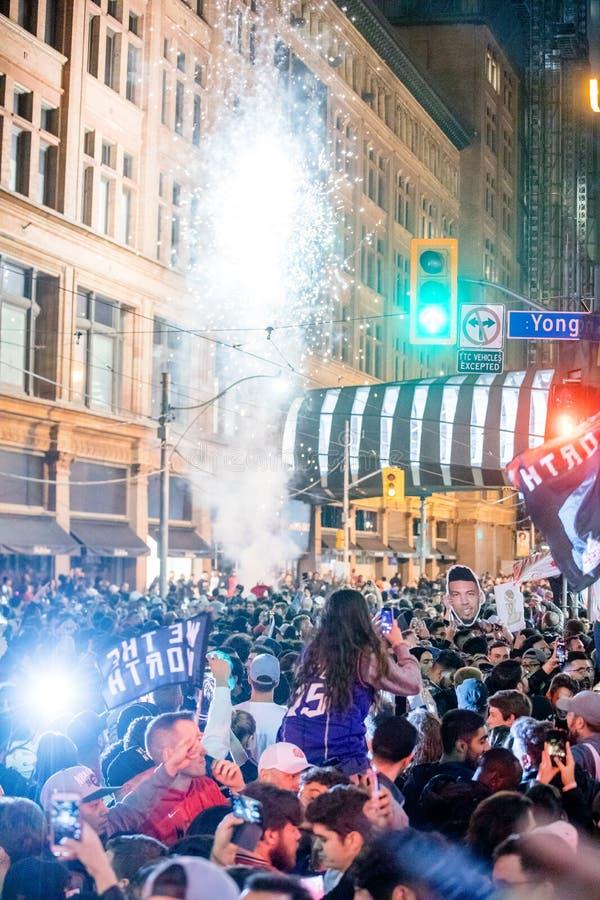Campeonato de NBA da vitória de Toronto Raptors - Toronto, Canadá - 14 de junho de 2019 foto de stock