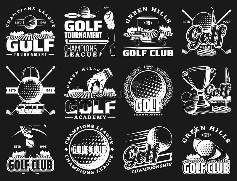 Campeonato del club de golf, iconos de la insignia de la liga del deporte stock de ilustración