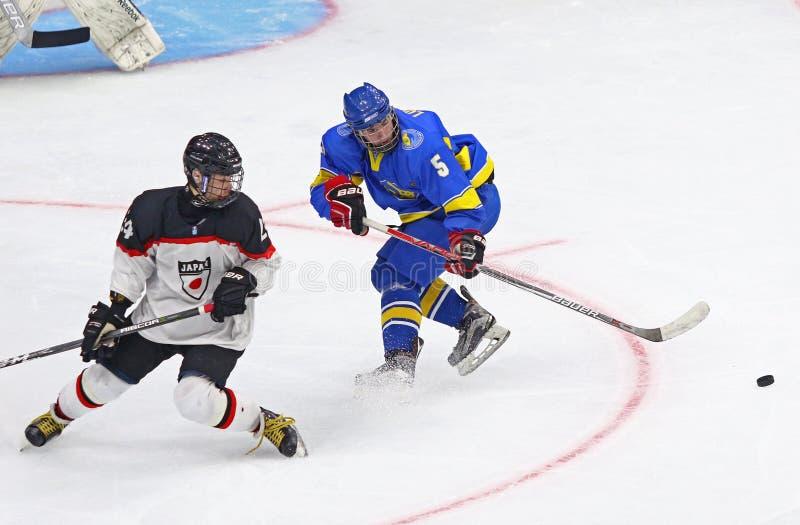 2018 campeonato Div 1, Kyiv, Ucrania del mundo del hockey sobre hielo U18 imágenes de archivo libres de regalías