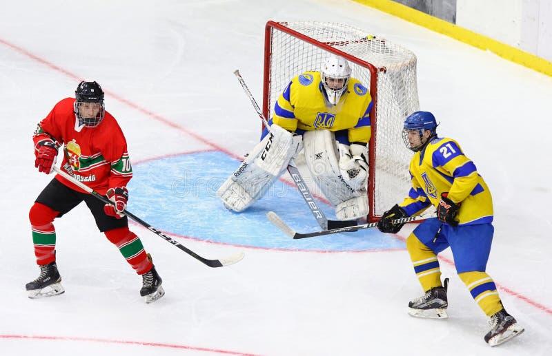 2018 campeonato Div 1, Kyiv, Ucrania del mundo del hockey sobre hielo U18 foto de archivo