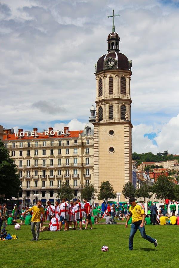 Campeonato 2016 do futebol do Euro em Lyon, França fotografia de stock