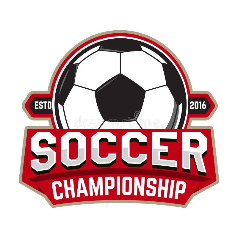 Campeonato do futebol Molde do emblema com bola do futebol Projeto ilustração do vetor