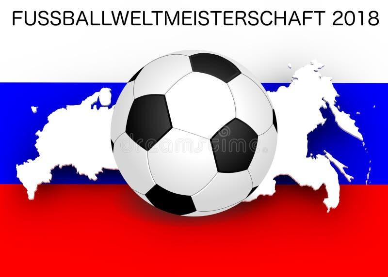 Campeonato do mundo 2018: Bandeira e futebol foto de stock