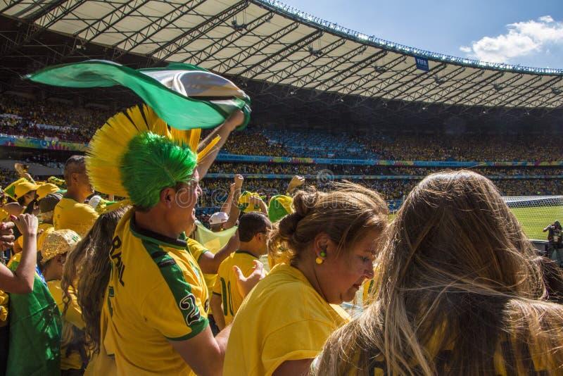 Campeonato do mundo Brasil 2014 - o Chile de Brasil 1 x 1 imagens de stock royalty free