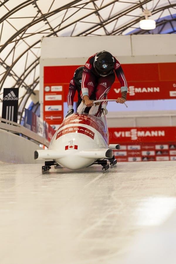 Campeonato do mundo Calgary Canadá 2014 do trenó fotos de stock
