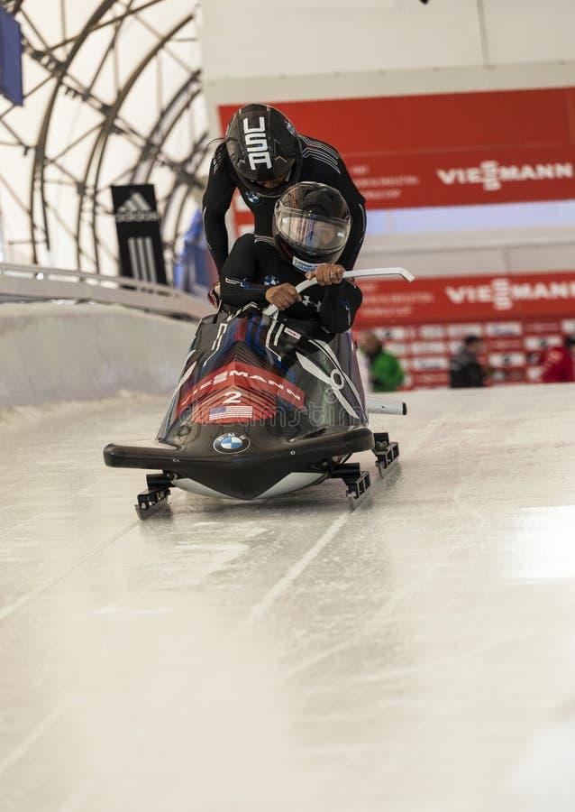 Campeonato do mundo Calgary Canadá 2014 do trenó foto de stock