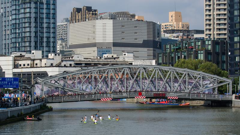 Campeonato do mundo 2017 Canoeing da maratona de China Shanghai Jingan Shaoxing fotografia de stock royalty free