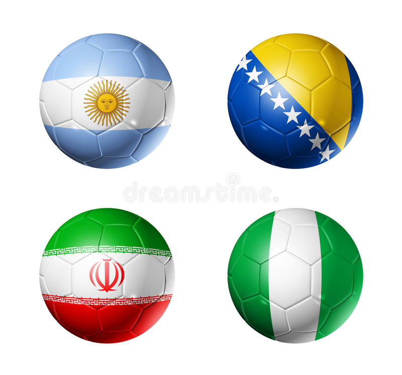 Campeonato do mundo de Brasil bandeiras de 2014 grupos F na bola de futebol ilustração do vetor