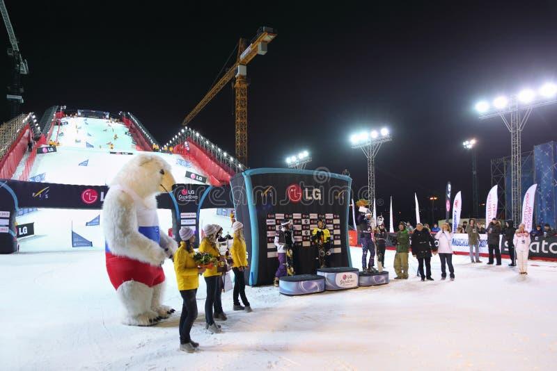 Campeonato do mundo do Snowboard do menat do vencedor fotografia de stock royalty free