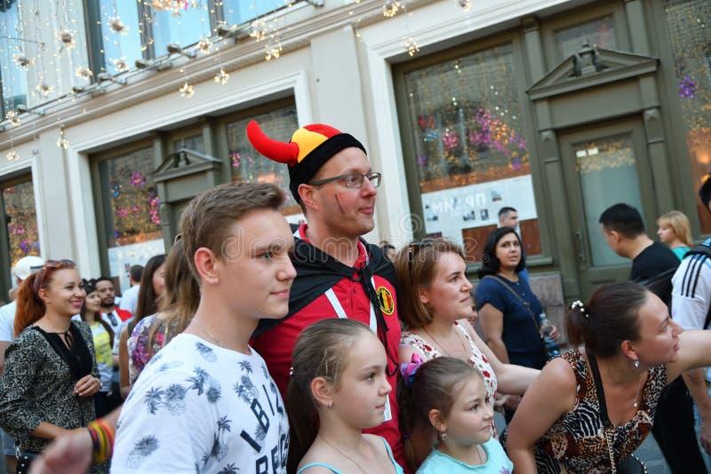 Campeonato do mundo 2018, fan de futebol nas ruas de Moscou foto de stock