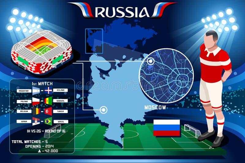 Campeonato do mundo Moscou Spartak Arena de Rússia ilustração royalty free