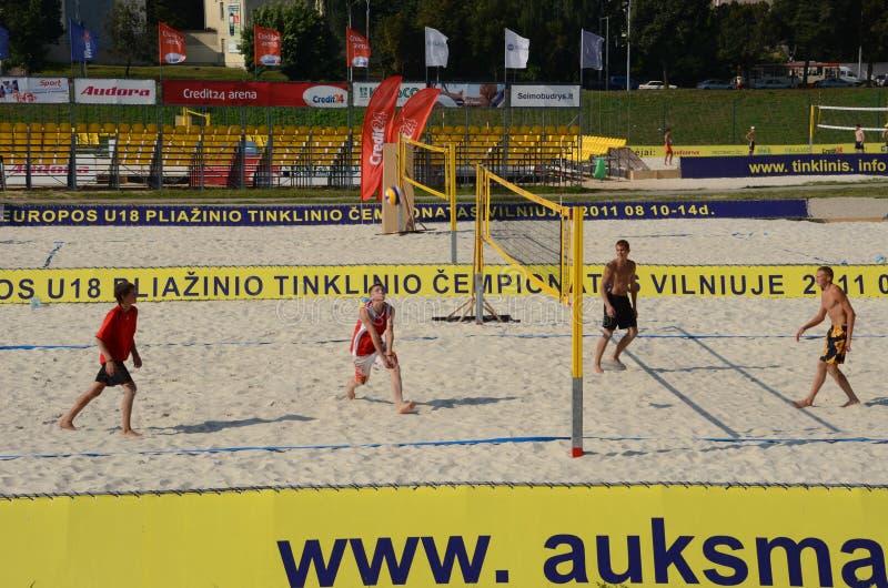 Campeonato europeo del voleibol de la playa U18. foto de archivo