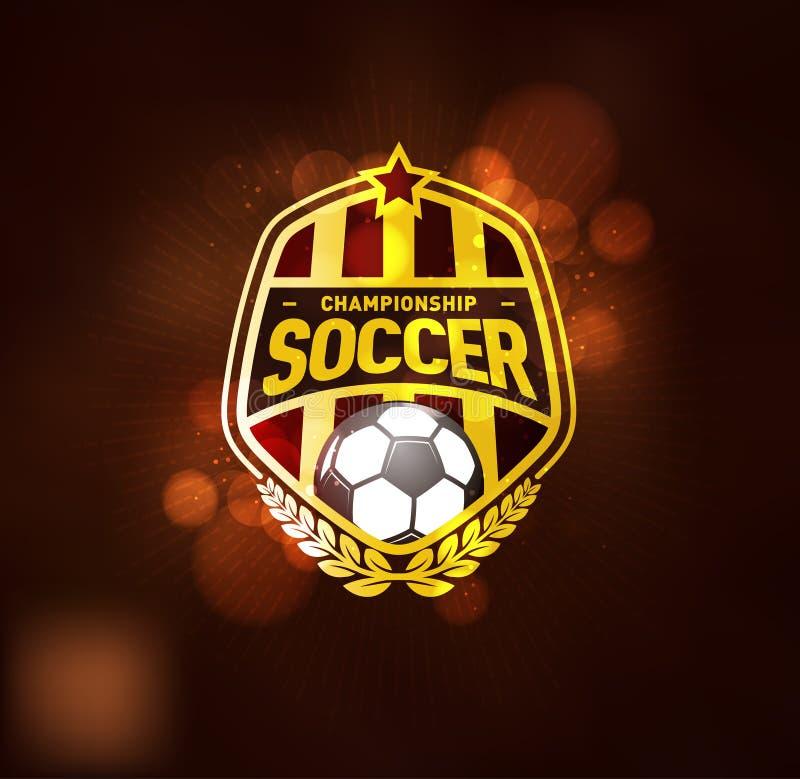 Campeonato Logo Design Template do futebol do futebol ilustração stock