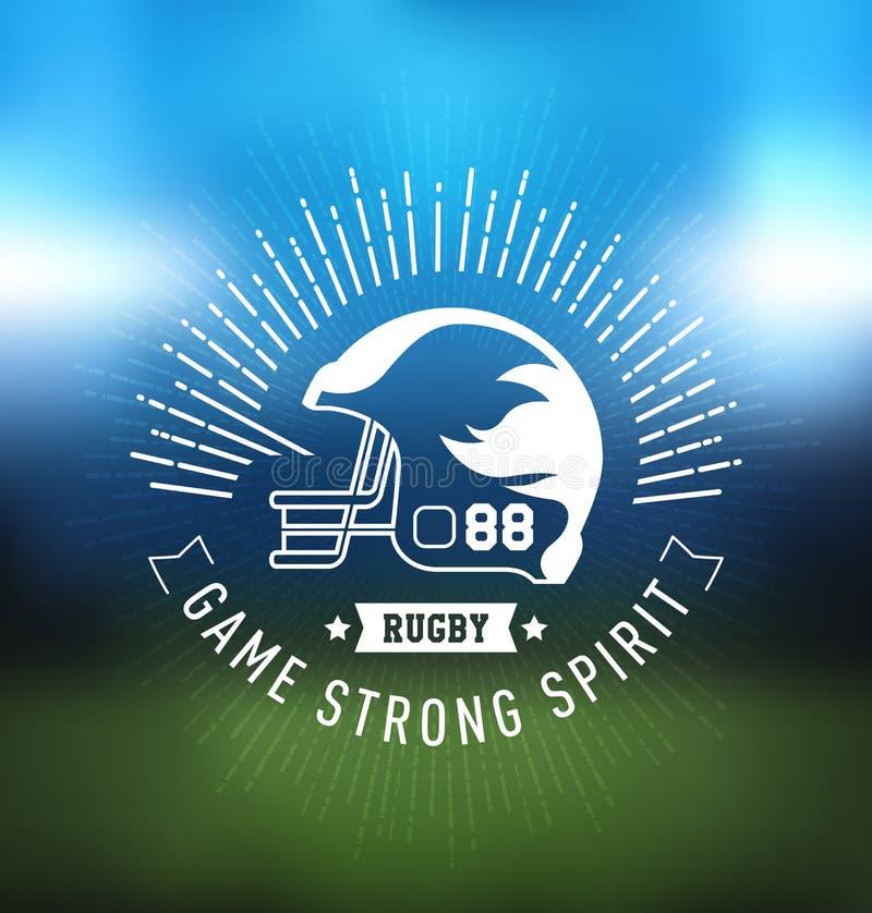 Campeonato Logo Sport Design Template del rugbi ilustración del vector