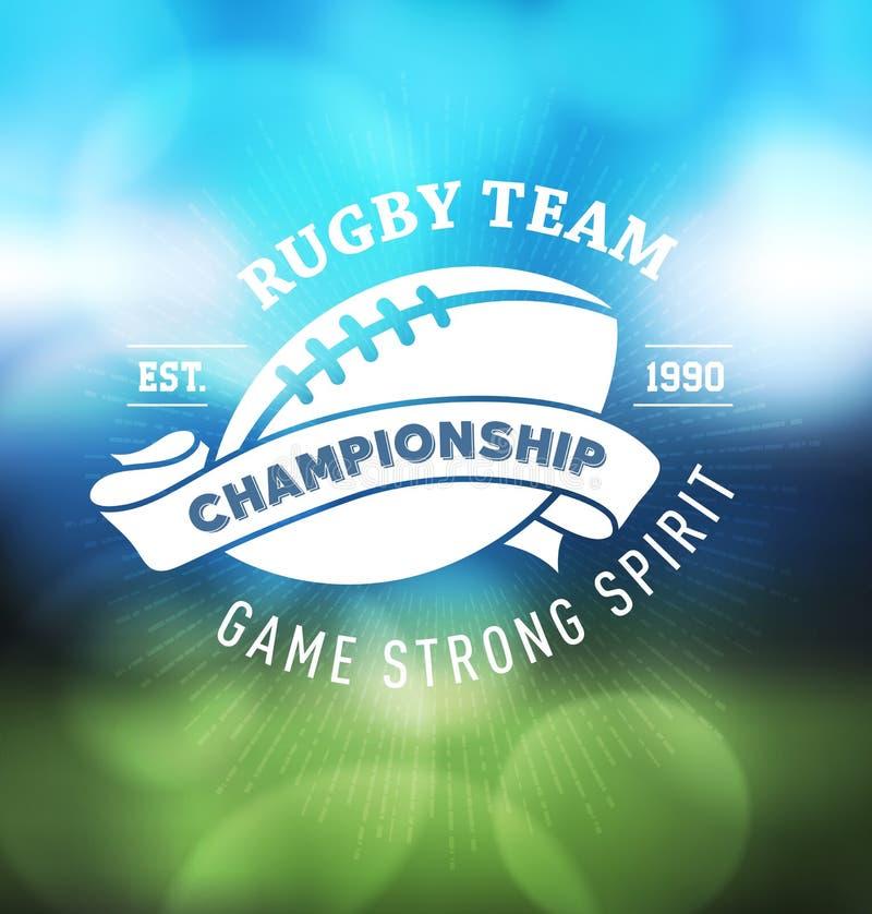Campeonato Logo Sport Design Template del rugbi stock de ilustración