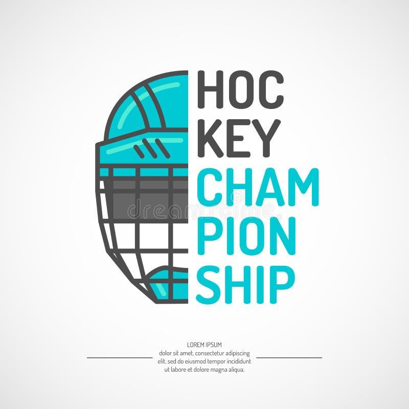 Campeonato moderno do hóquei em gelo do cartaz com o disco no gelo Ilustração do vetor ilustração do vetor