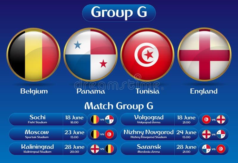Campeonato Rússia 2018 do futebol de G do grupo do fósforo ilustração do vetor