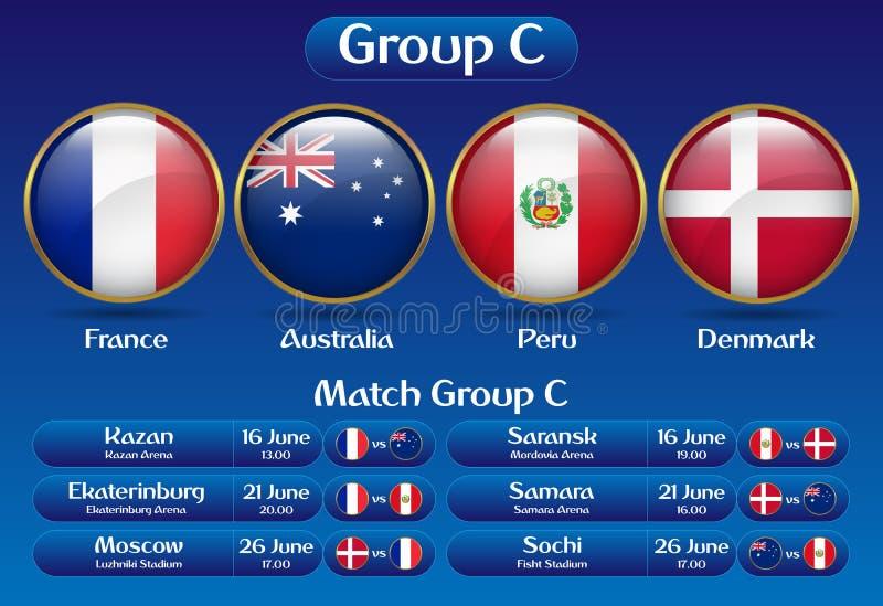 Campeonato Rússia 2018 do futebol do grupo C do fósforo ilustração royalty free