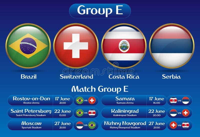 Campeonato Rússia 2018 do futebol do grupo E do fósforo ilustração stock