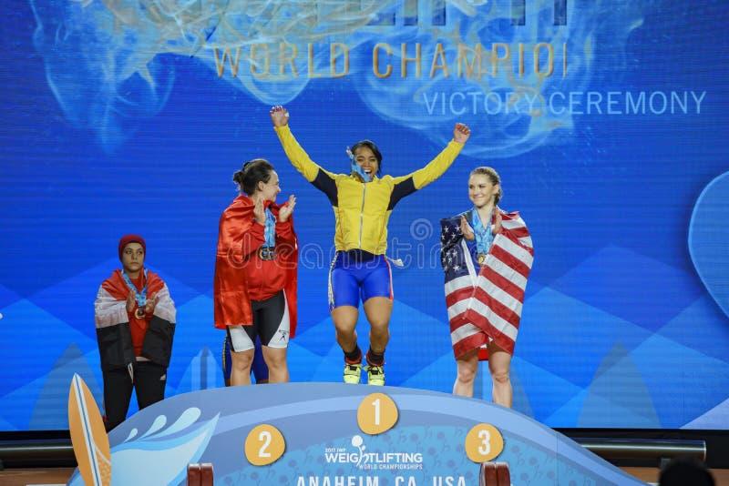 2017 campeonatos mundiais internacionais da federação do halterofilismo imagens de stock