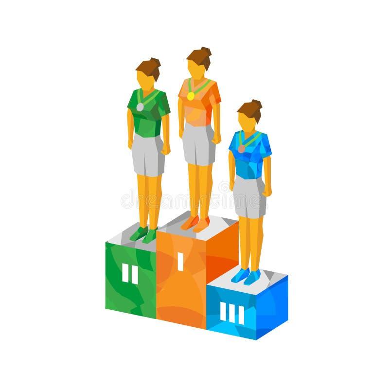 Campeones isométricos de las mujeres en pedestal con las medallas stock de ilustración