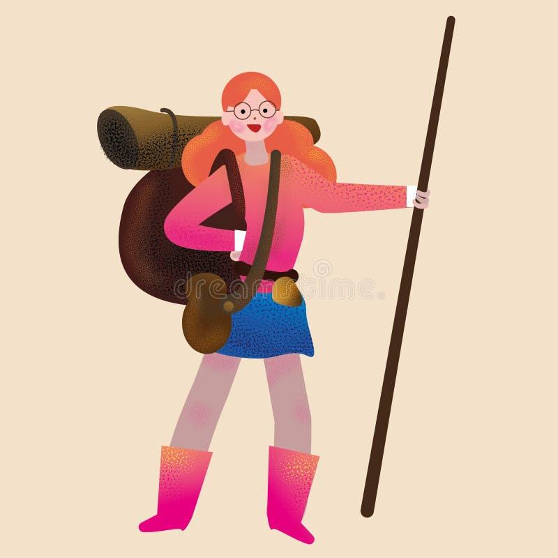 Camper allant de fille d'une chevelure rouge d'isolement illustration libre de droits