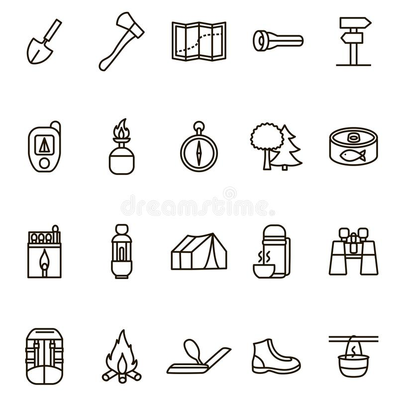 Camper augmentant la ligne mince noire ensemble de signes d'icône Vecteur illustration libre de droits
