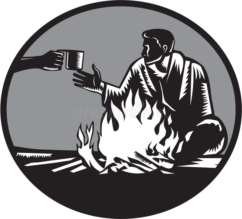 Camper Campfire Cup of Coffee Circle Woodcut royalty free illustration
