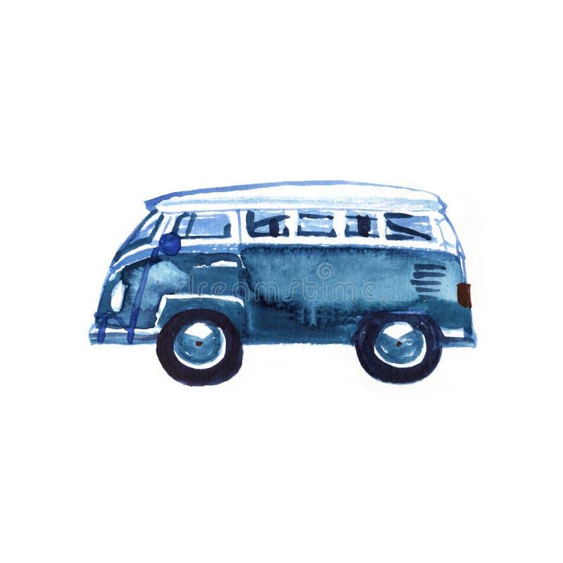 Camper d'annata di hippy dell'acquerello, isolato su fondo bianco Retro illustrazione Elemento per il vostro disegno illustrazione vettoriale