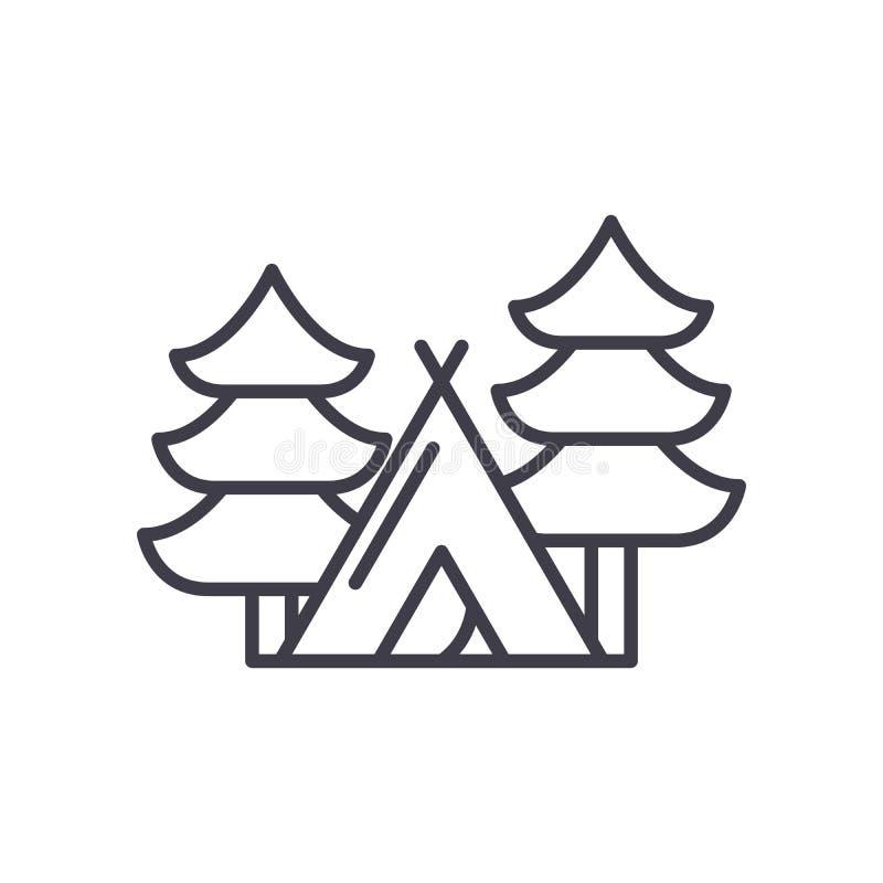 Camper dans le concept d'icône de noir de forêt Campant dans le symbole plat de vecteur de forêt, signe, illustration illustration de vecteur