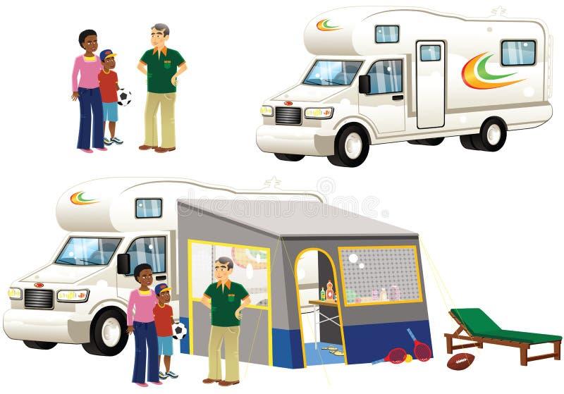 Camper e tende royalty illustrazione gratis