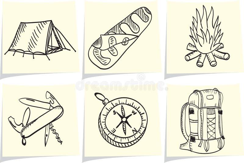 Camper et matériel extérieur sur des bâtons de note illustration stock