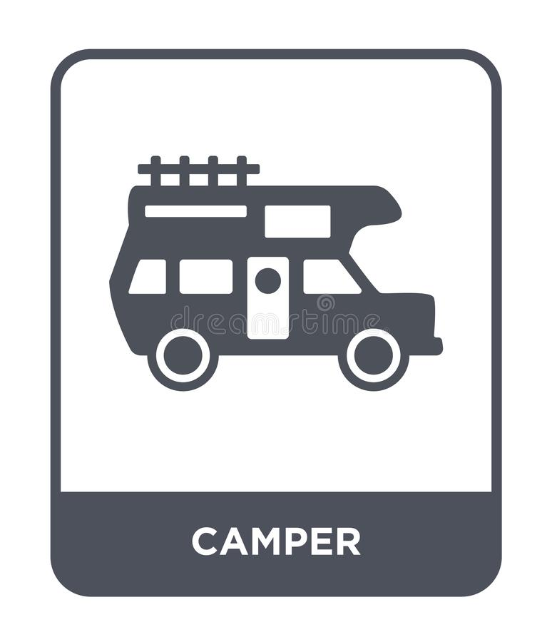 Camper icon in trendy design style. camper icon isolated on white background. camper vector icon simple and modern flat symbol for. Web site, mobile, logo, app stock illustration