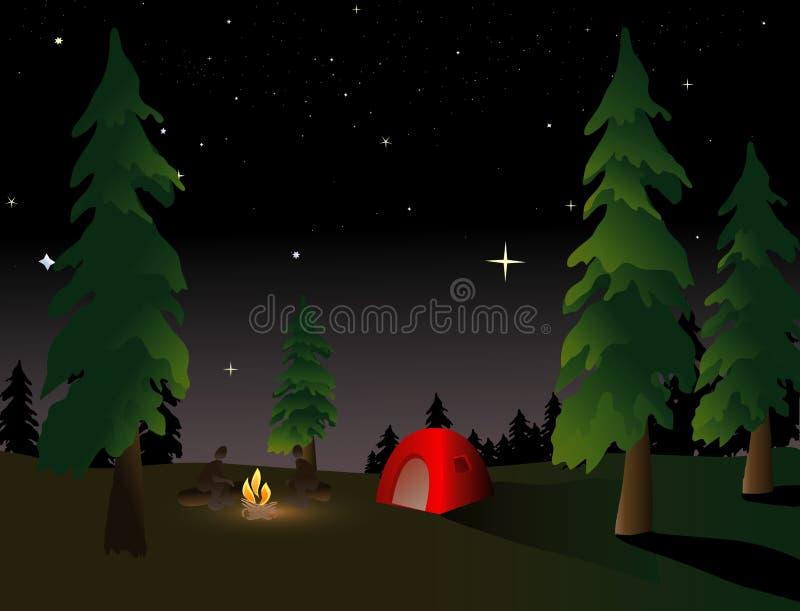 Camper la nuit illustration de vecteur