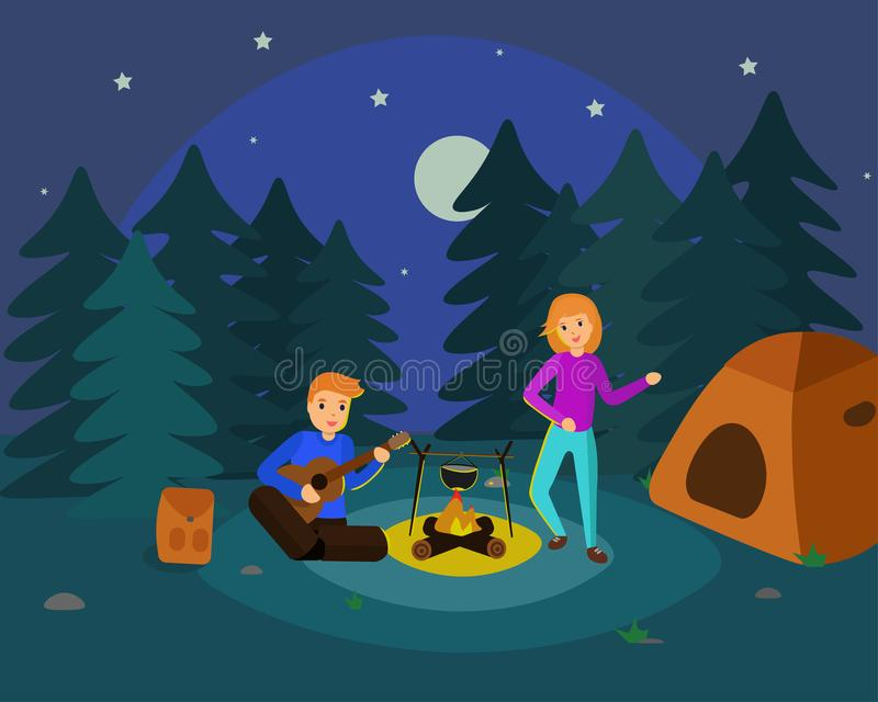 Camper la nuit illustration libre de droits